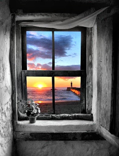 summer, beach, looking out the window, sunset