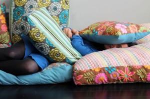 floor pillows, happy