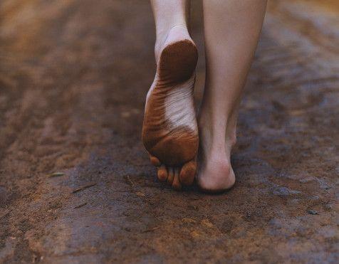 barefoot, mud, rain
