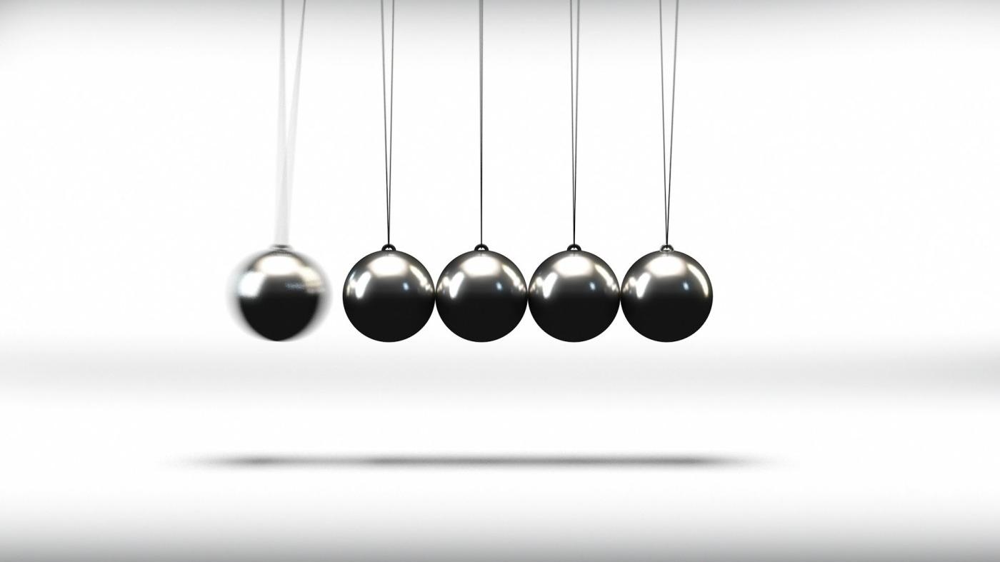 pendulum balls, cause and effect
