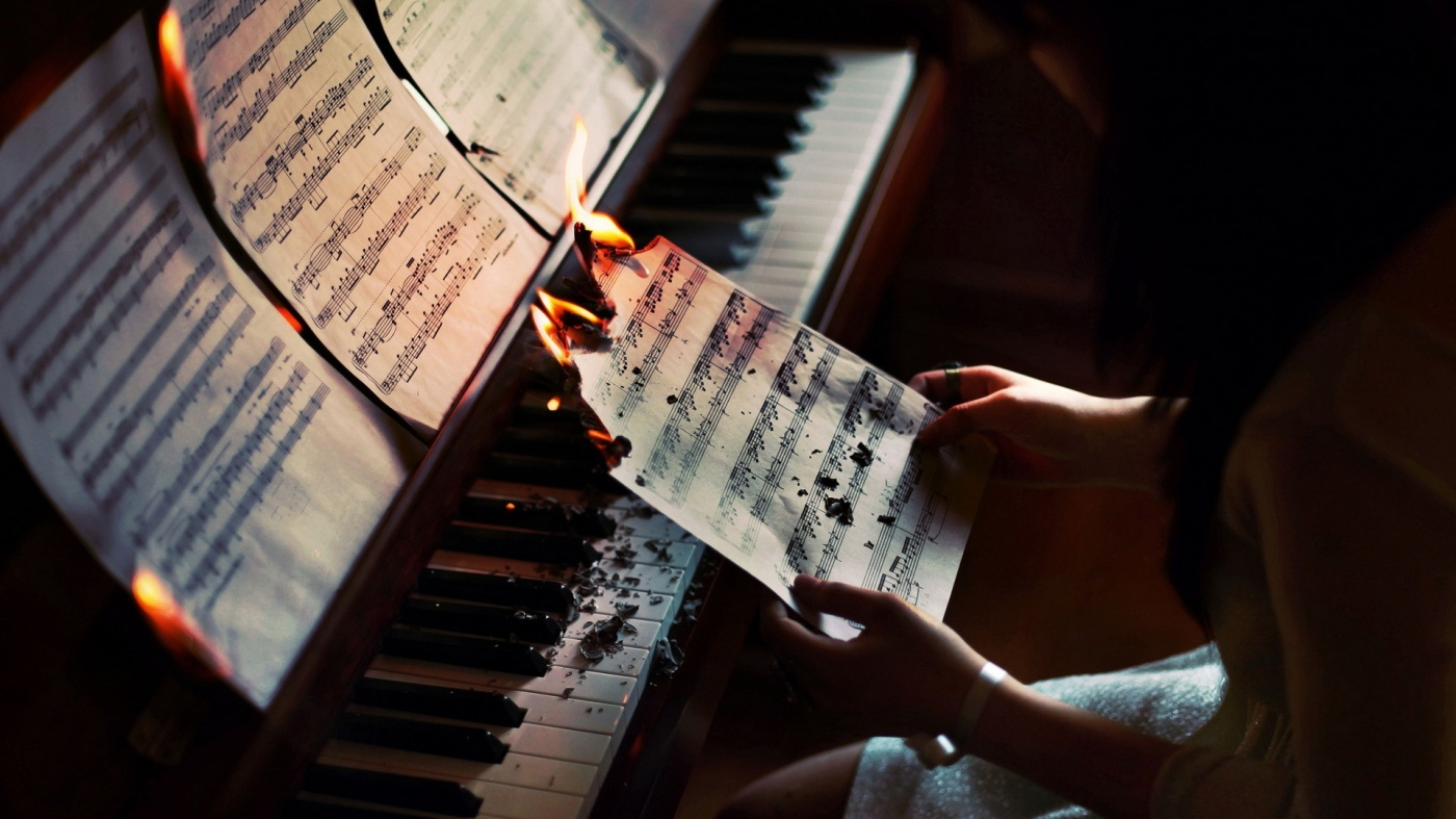 sheet music, piano, burning