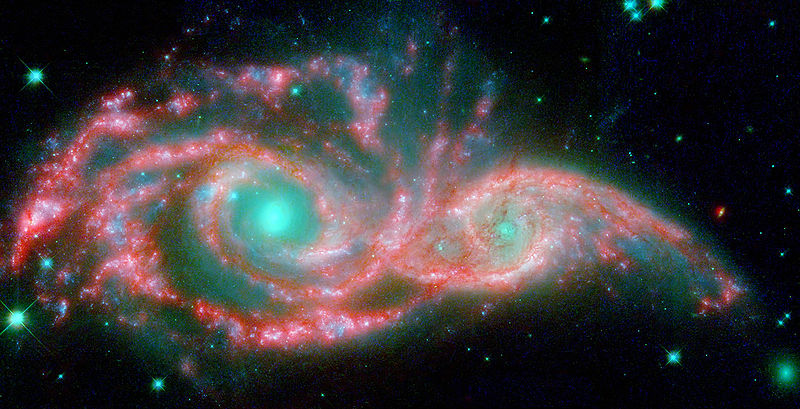 galaxies colliding, space